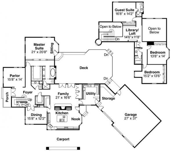 Wilshire - 10-031 - Estate Home Plans - Floor Plan