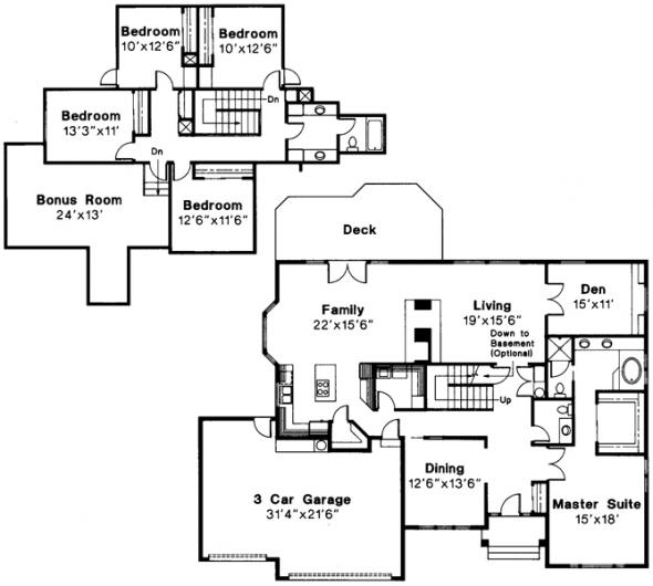 Berkley - 10-032 - Traditional Home Plans - Floor Plan