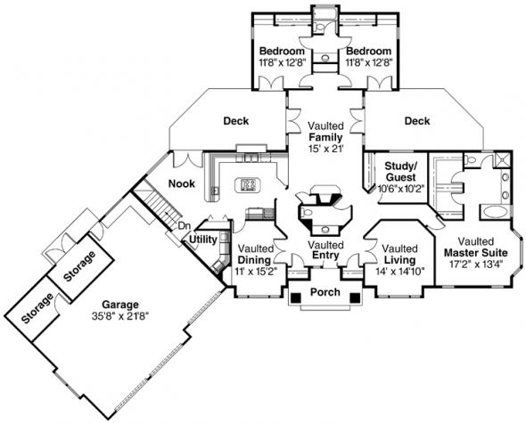 Sheridan - 10-042 - Ranch Home Plans - Floor Plan