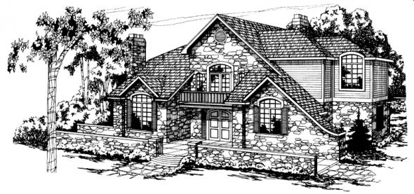 Ashton - 10-065 - European Home Plans - Front Elevation