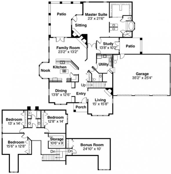 Walbrook - 10-070 - Tudor Home Plans - Floor Plan