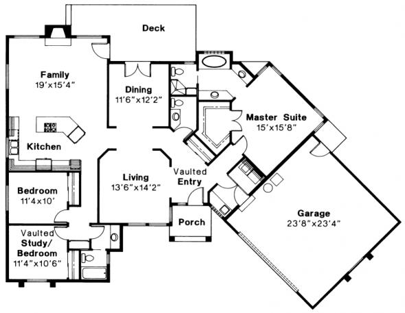 Wateridge - 10-144 - Ranch Home Plans - Floor Plan