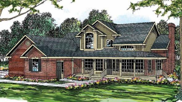 Charleston - 10-252 - Country Home Plans - Front Elevation
