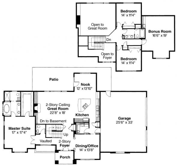 Richfield - 10-352 - Traditional Home Plans - Floor Plan
