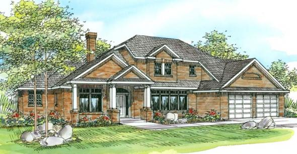 Ainsworth - 10-355 - Neoclassical Home Plans - Front Elevation