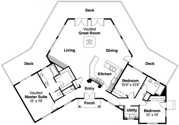 Forsythia - 10-426 - Hexagonal Home Plans - Floor Plan