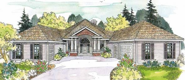 Myersdale - 10-453 - Hexagonal Home Plans - Front Elevation