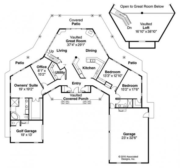 Myersdale - 10-453 - Hexagonal Home Plans - Floor Plan