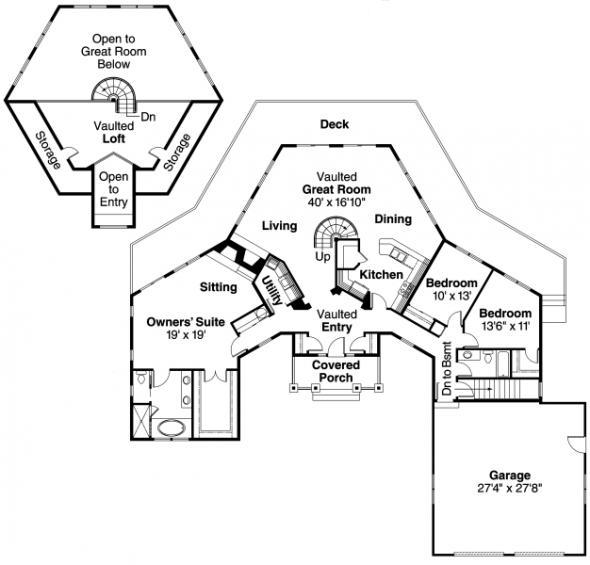 McCarren - 10-509 - Hexagonal Home Plans - Floor Plan