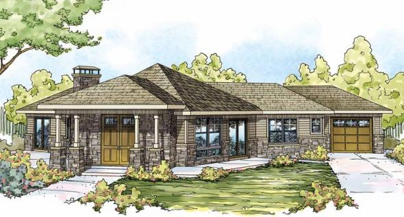 Baltimore - 10-554 - Prairie Home Plans - Front Elevation