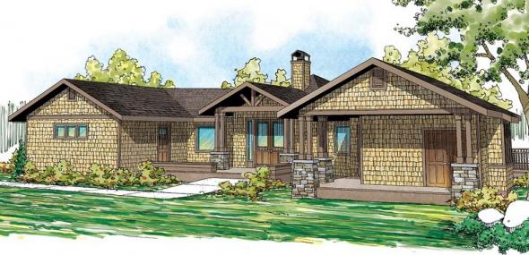 Sandpoint - 10-565 - Lodge Home Plans - Front Elevation