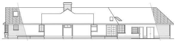 Sheridan - 10-042 - Ranch Home Plans - Rear Elevation