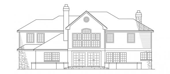 Ashton - 10-065 - European Home Plans - Rear Elevation