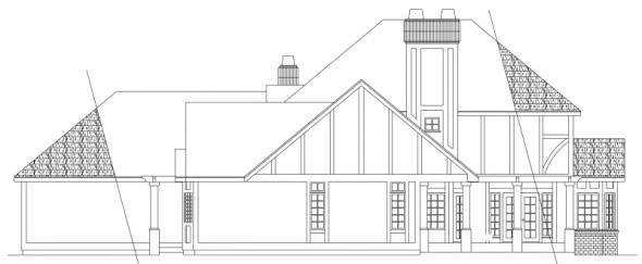 Walbrook - 10-070 - Tudor Home Plans - Rear Elevation