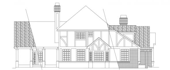 Walbrook - 10-070 - Tudor Home Plans - Left Elevation