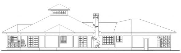 Clematis - 10-073 - Cape Cod Home Plans - Rear Elevation