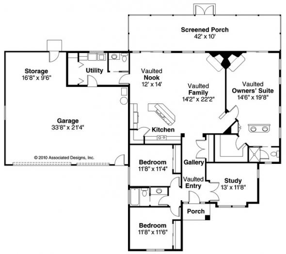 Medina - 10-188 - Southwestern Home Plans - Floor Plan