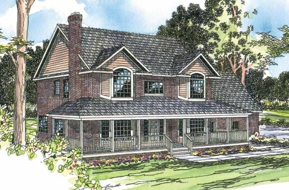 Cimarron - 10-208 - Country Home Plans - Front Elevation