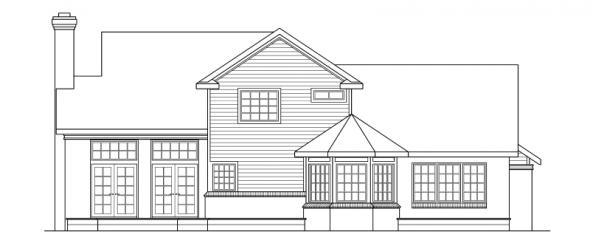 Charleston - 10-252 - Country Home Plans - Rear Elevation