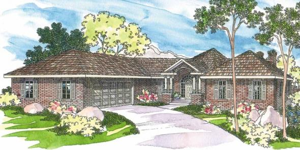 Linfield - 10-322 - Hexagonal Home Plans - Front Elevation