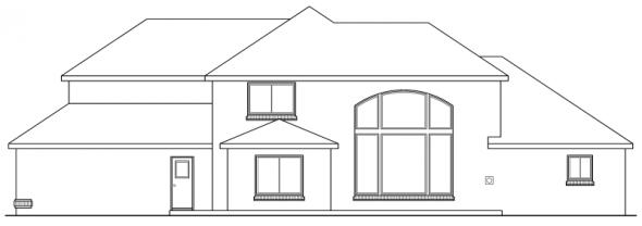 Richfield - 10-352 - Traditional Home Plans - Rear Elevation