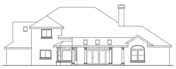 Ainsworth - 10-355 - Neoclassical Home Plans - Rear Elevation