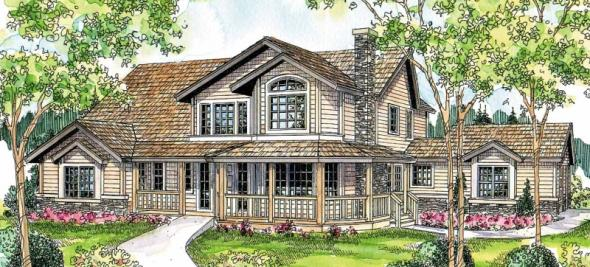 Hilyard - 10-408 - Country Home Plans - Front Elevation