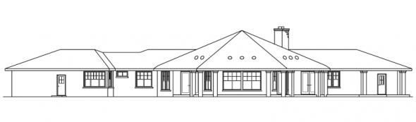 Aberdeen - 10-428 - Hexagonal Home Plans - Rear Elevation