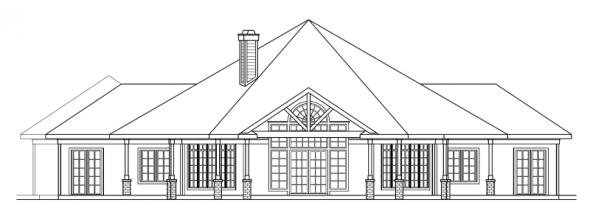 Myersdale - 10-453 - Hexagonal Home Plans - Rear Elevation
