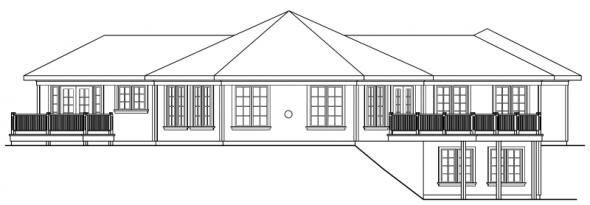 Treyburn - 10-497 - Hexagonal Home Plans - Rear Elevation