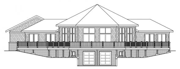 McCarren - 10-509 - Hexagonal Home Plans - Rear Elevation