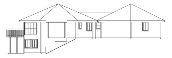 Ravendale - 10-523 - Hexagonal Home Plans - Left Elevation