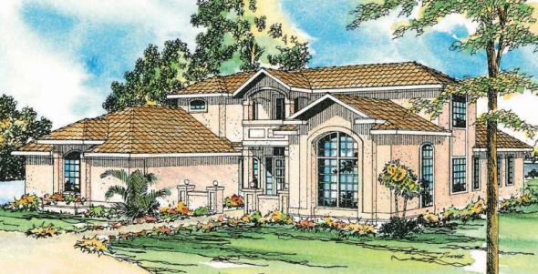 Roswell - 11-086 - Southwestern Home Plans - Front Elevation
