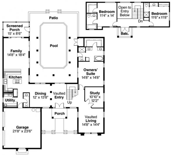 Roswell - 11-086 - Southwestern Home Plans - Floor Plan
