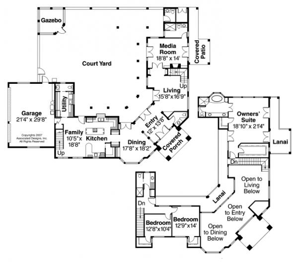 Veracruz - 11-118 - Mediterranean Home Plans - Floor Plan