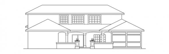 Roswell - 11-086 - Southwestern Home Plans - Rear Elevation