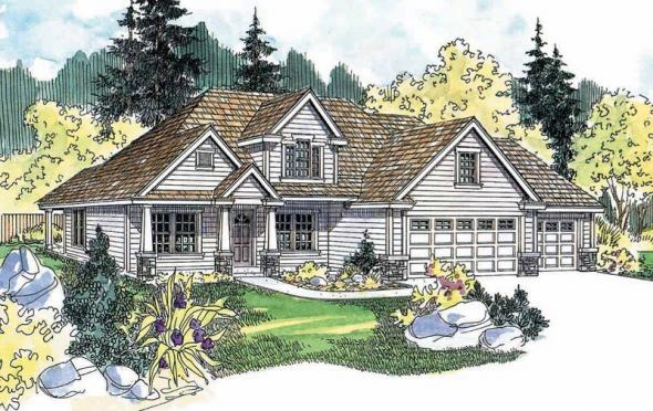 Whitehaven - 30-431 - Country Home Plan - Front Elevation