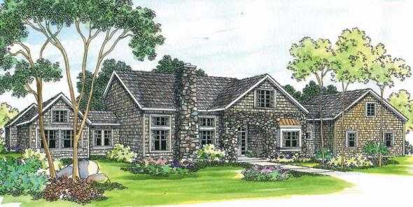 Brelsford - 30-202 - European Home Plan - Front Elevation