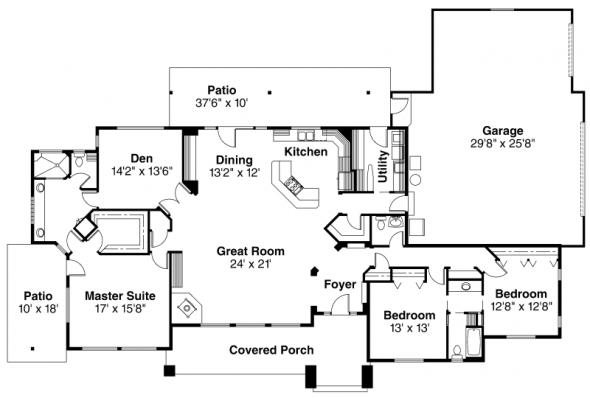 Belvedere - 30-280 - Contemporary Home Plan - Floor Plan
