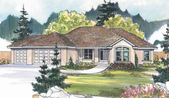 Brittany - 30-317 - Tuscan Home Plan - Front Elevation