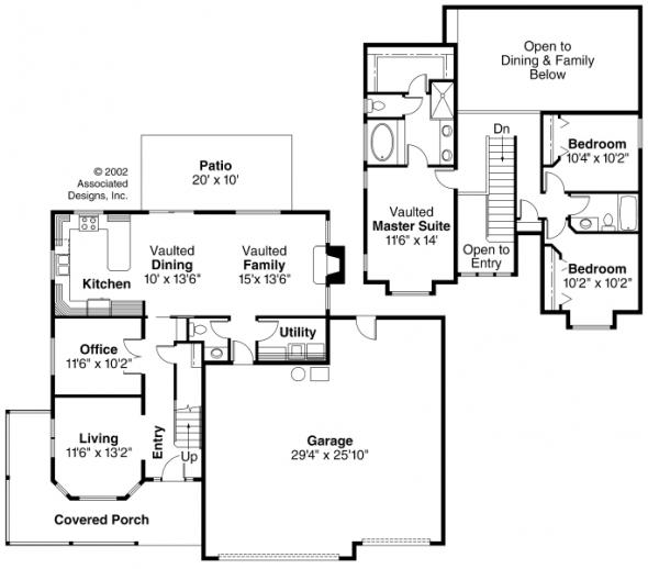Kaitlyn - 30-338 - Country Home Plan - Floor Plan