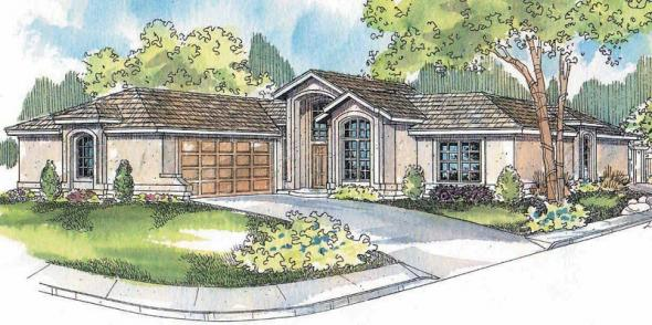 Jacobsen - 30-397 - Mediterranean Home Plan - Front Elevation
