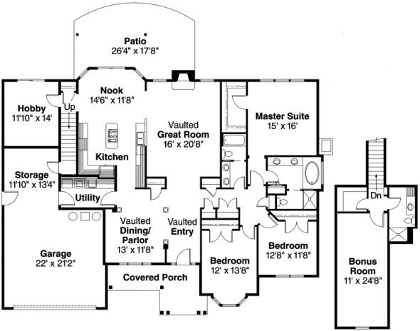 Hargrove - 30-409 - European Home Plan - Floor Plan