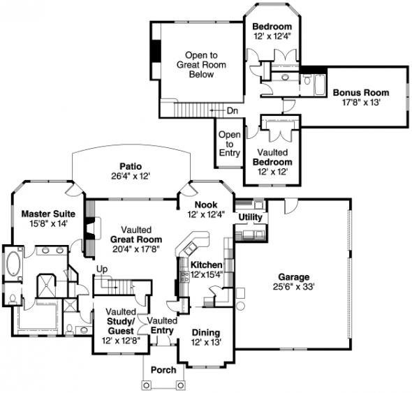 Crestwick - 30-425 - European Home Plan - Floor Plan