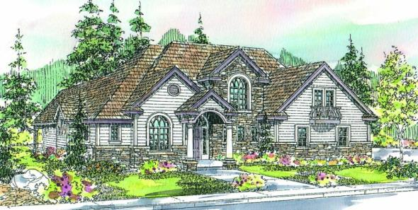 Southwick - 30-482 - European Home Plan - Front Elevation