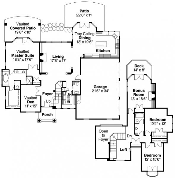 Southwick - 30-482 - European Home Plan - Floor Plan