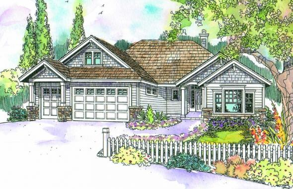 Whitingham - 30-501 - Craftsman Home Plan - Front Elevation