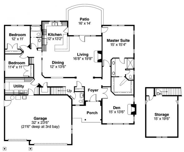 Whitingham - 30-501 - Craftsman Home Plan - Floor Plan
