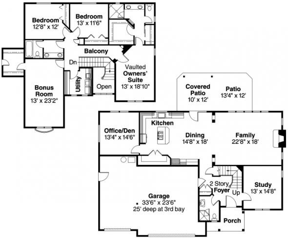 Sausalito - 30-521 - European Home Plan - Floor Plan