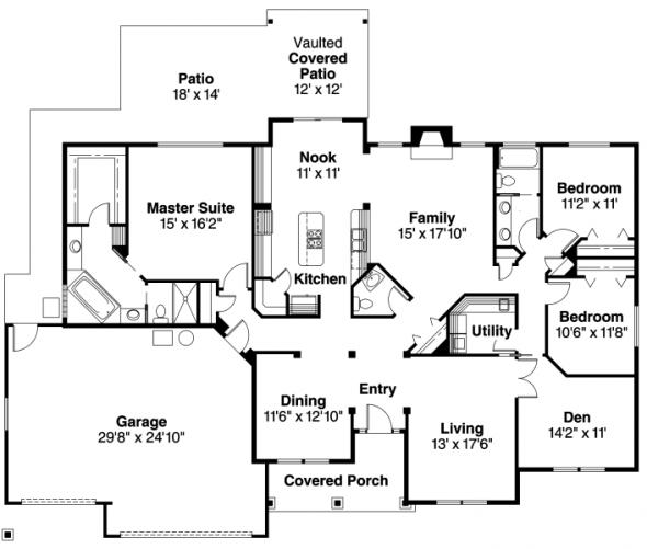 Spencer - 30-537 - Traditional Home Plan - Floor Plan